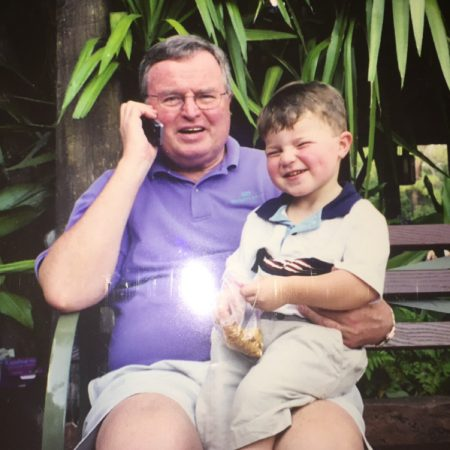 Aidan Matthews (15) interviews his grandfather, Robert Jenkins (76).