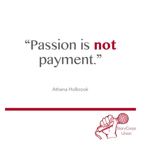 """Passion is not payment."""