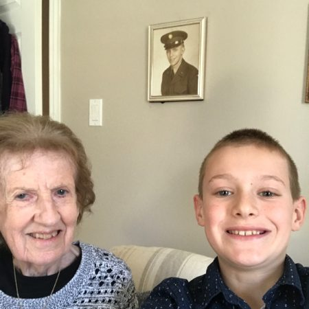 Lucas Galvez, gaining an insight from his great-grandmother, Diane Zukaitis, about the past.