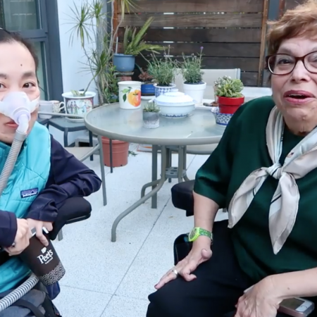 Intergenerational conversation between two disabled women: Judith Heumann and Alice Wong