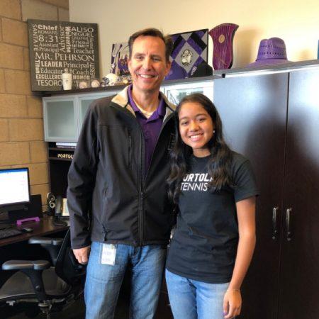 Portola High School - Principal John Pehrson and sophomore Saachi Pavani